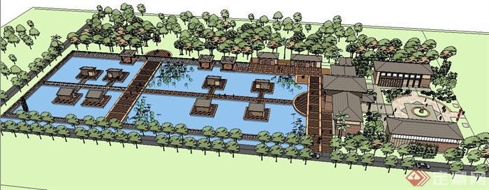 现代中式生态园休闲山庄建筑设计su模型(3)