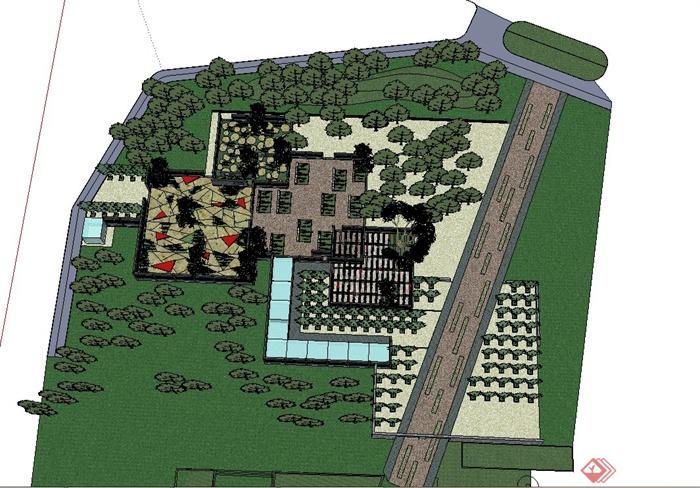 现代某植物园入口景观设计SU模型(1)
