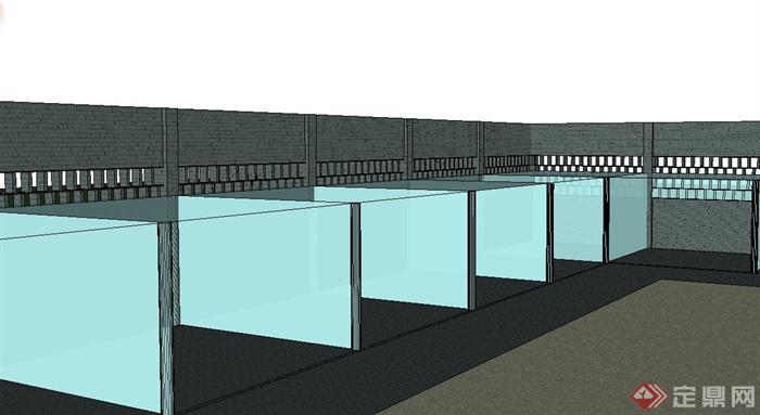 现代某植物园入口景观设计SU模型(2)