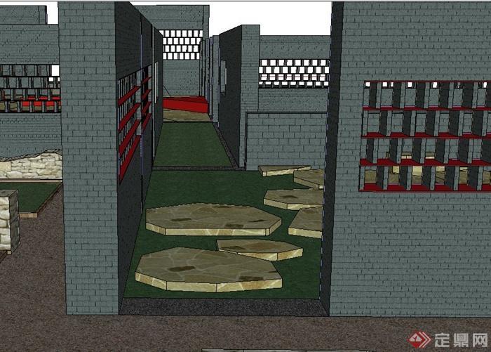 现代某植物园入口景观设计SU模型(3)