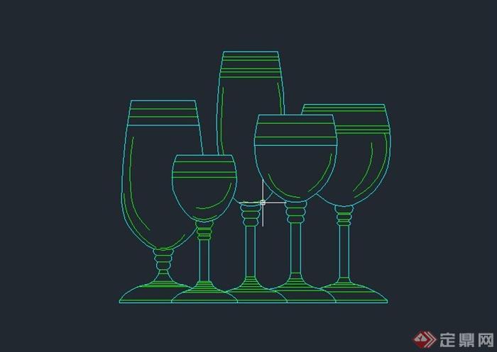 五个高脚杯设计CAD方案图(1)