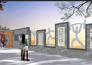 中式风格文化景墙psd效果图