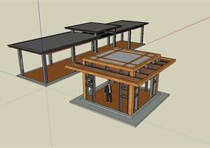 某新中式景观钢制廊架设计SU(草图大师)模型