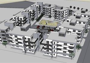 某住宅区建筑设计SU(草图大师)模型(附景观)