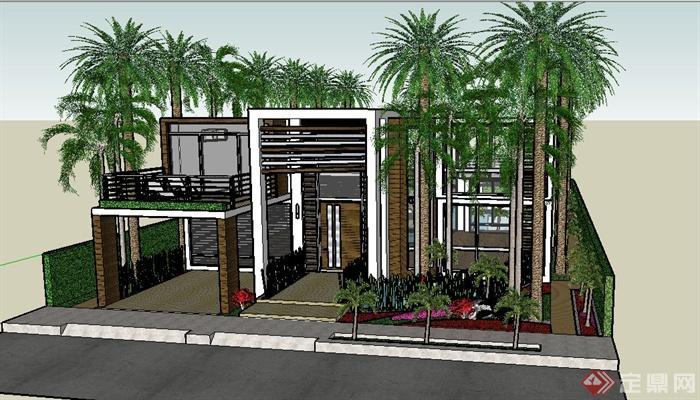 现代别墅庭院景观设计_现代风格别墅建筑及庭院景观设计su模型