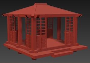 中式风格木制凉亭3dmax模型