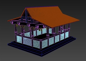 现代中式休闲凉亭3dmax模型