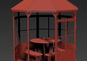 园林景观某凉亭及桌凳组合3dmax模型