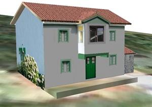 现代二层民居建筑及凉亭SU(草图大师)模型