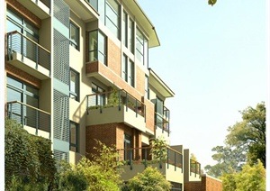 现代某四层住宅建筑景观设计3DMAX模型