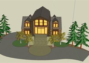 东南亚乡村住宅建筑设计SU(草图大师)模型