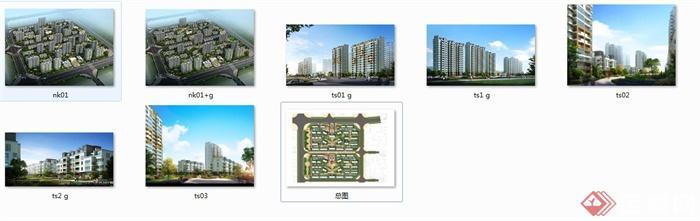 某小区建筑景观设计JPG效果图和彩平图