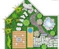 园路,汀步,木平台,水池,草坪,庭院景观