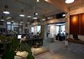集中办公区,形象墙,前台,吊灯,玻璃隔断