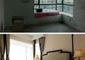臥室,施工圖片,床,床頭柜,窗簾,窗子,臺燈