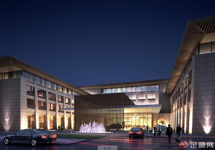 新中式风格五星级酒店建筑设计方案文本(2)
