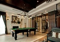 别墅,台球室,台球桌,吊灯,沙发椅,陈设