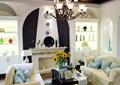 客厅,吊灯,沙发茶几,壁炉,陈设装饰,陈列柜