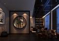 会所,茶室,窗洞,茶桌凳,陈列柜,装饰画,陈设
