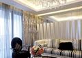 客厅,水晶吊灯,沙发,茶几,椅子,茶具,摆件,窗帘