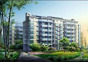 现代中式风格住宅建筑景观psd效果图