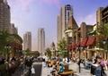 商业街,街道环境,商业景观,花池坐凳,路灯,沿街商铺