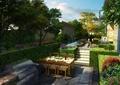 庭院景观,住宅景观,餐桌椅,花池,水景