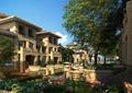 庭院景觀,住宅景觀,別墅,鐵藝圍欄,桌椅,樹池