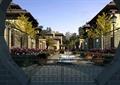 住宅景观,庭院景观,大门,水景,花池,围墙,路灯