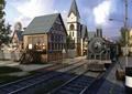 住宅景观,钟塔,火车,轨道,路灯
