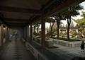 庭院,庭院景观,廊道,廊架,树池,盆景