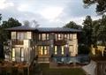 別墅,庭院景觀,餐桌椅,水池,涼亭,圍墻