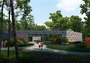 某现代中式公园景墙psd效果图