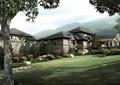 宾馆建筑,植物,草坪,景石