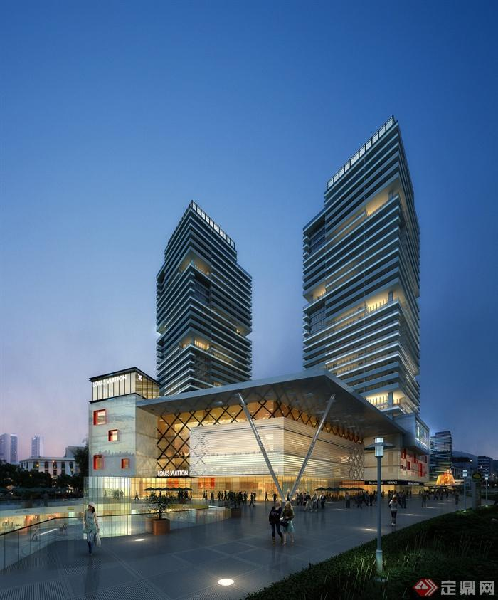 商业综合体,商业中心,商业建筑,商场,高层商务,路灯