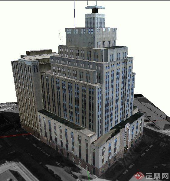 某现代广播电台建筑设计SU模型(2)