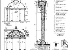 园林景观圆形凉亭设计PDF施工图