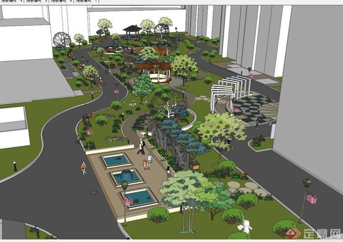 居住区景观规划设计SU模型(2)