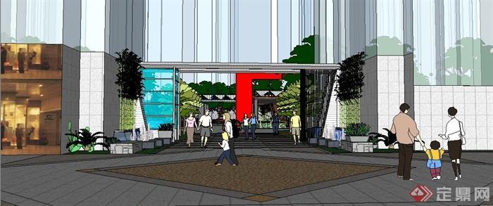 现代居住区景观规划su模型(1)