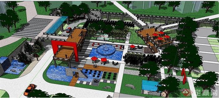 现代居住区景观规划su模型(4)