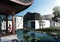 別墅,住宅景觀,庭院景觀,涼亭,水池,景墻