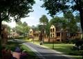 住宅景观,别墅,道路,路灯,草坪