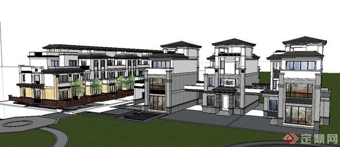 多栋现代中式风格住宅建筑设计su模型(2)
