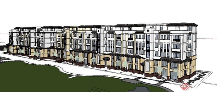 多栋现代中式风格住宅建筑设计su模型(1)