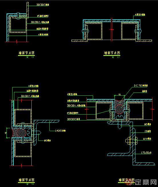 室内装饰多种金属装饰墙体详图(2)
