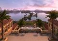 酒店景观,旅游景观,植物,水景,山体