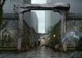 道路,道路景观,拱门,雨景