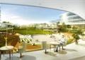 办公空间,桌椅,玻璃外墙,植物