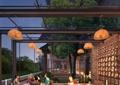 餐厅,餐桌椅,吊灯,花瓶插花,木地板