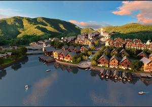 某美式山地别墅区建筑设计3DMAX模型与PSD效果图